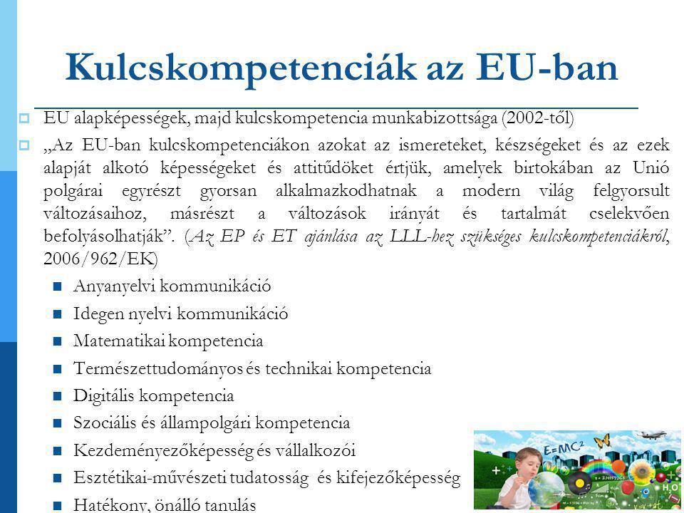 """Kulcskompetenciák az EU-ban  EU alapképességek, majd kulcskompetencia munkabizottsága (2002-től)  """"Az EU-ban kulcskompetenciákon azokat az ismereteket, készségeket és az ezek alapját alkotó képességeket és attitűdöket értjük, amelyek birtokában az Unió polgárai egyrészt gyorsan alkalmazkodhatnak a modern világ felgyorsult változásaihoz, másrészt a változások irányát és tartalmát cselekvően befolyásolhatják ."""