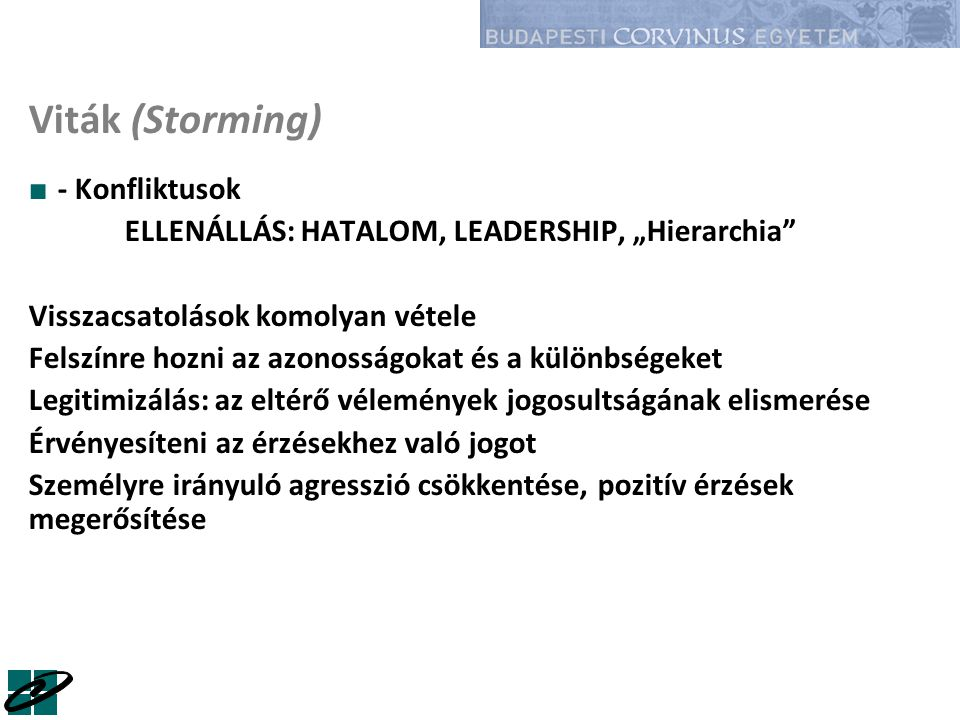 """Viták (Storming) ■ - Konfliktusok ELLENÁLLÁS: HATALOM, LEADERSHIP, """"Hierarchia"""" Visszacsatolások komolyan vétele Felszínre hozni az azonosságokat és a"""