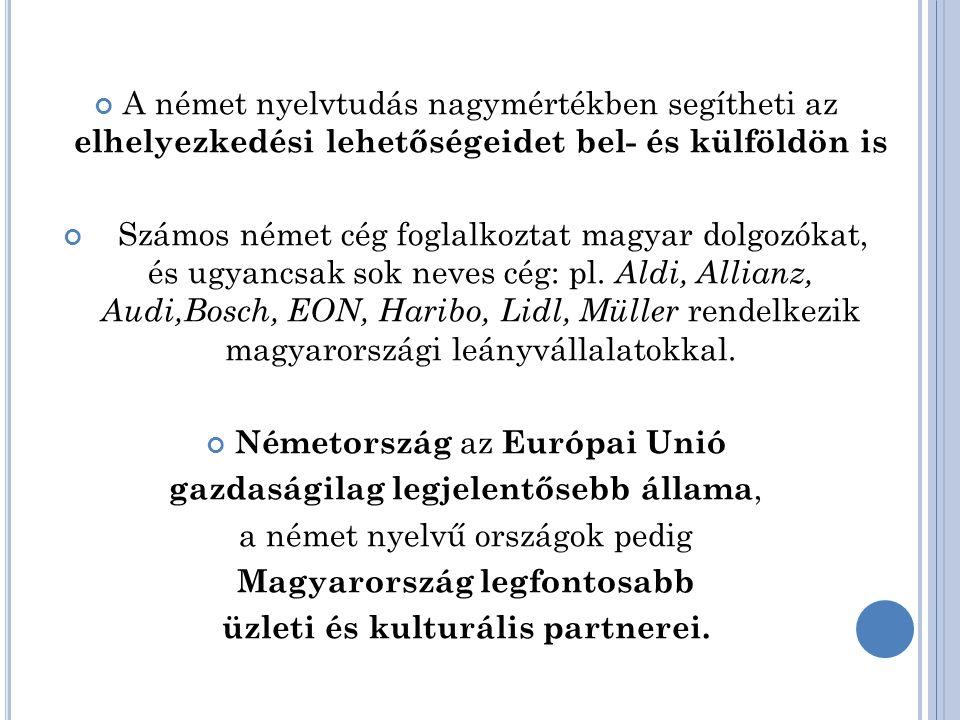 A német nyelvtudás nagymértékben segítheti az elhelyezkedési lehetőségeidet bel- és külföldön is Számos német cég foglalkoztat magyar dolgozókat, és ugyancsak sok neves cég: pl.