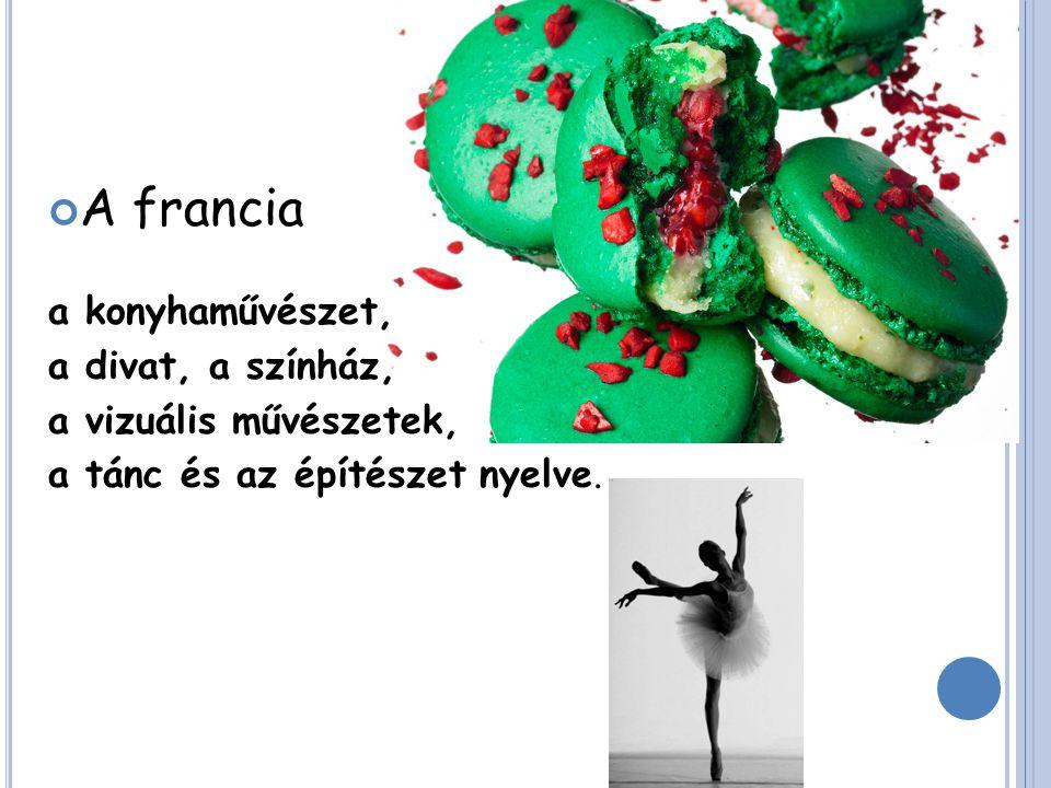 A francia a konyhaművészet, a divat, a színház, a vizuális művészetek, a tánc és az építészet nyelve.