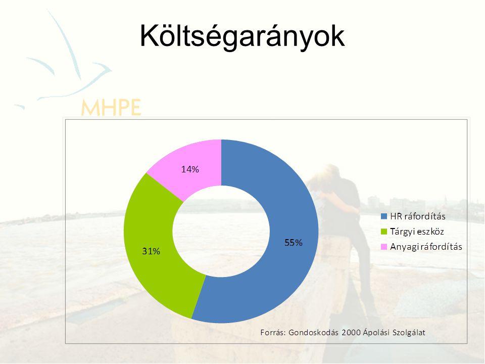 Egyéb forrást is felhasználó hospice ellátók 60% → 70% Forrás: MHPE statisztika 2011.