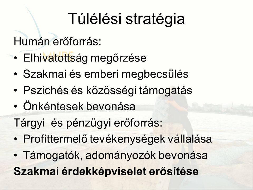 Túlélési stratégia Humán erőforrás: •Elhivatottság megőrzése •Szakmai és emberi megbecsülés •Pszichés és közösségi támogatás •Önkéntesek bevonása Tárgyi és pénzügyi erőforrás: •Profittermelő tevékenységek vállalása •Támogatók, adományozók bevonása Szakmai érdekképviselet erősítése