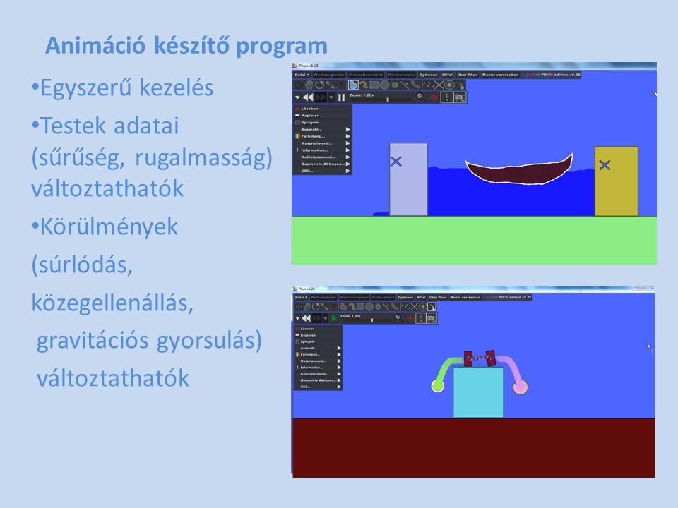 Animáció készítő program • Egyszerű kezelés • Testek adatai (sűrűség, rugalmasság) változtathatók • Körülmények (súrlódás, közegellenállás, gravitáció