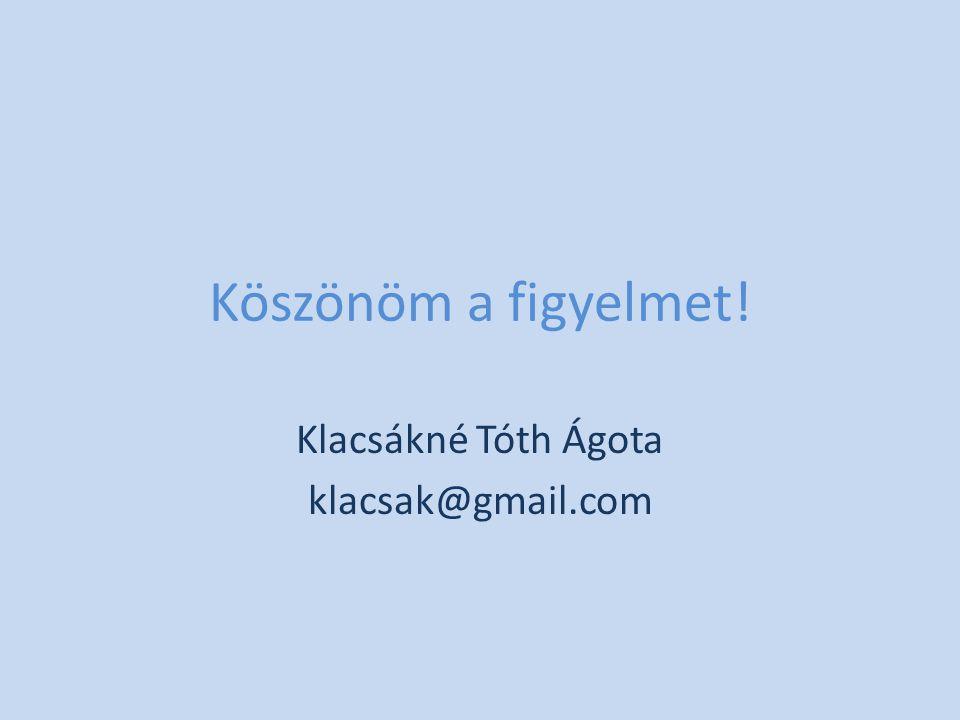 Köszönöm a figyelmet! Klacsákné Tóth Ágota klacsak@gmail.com