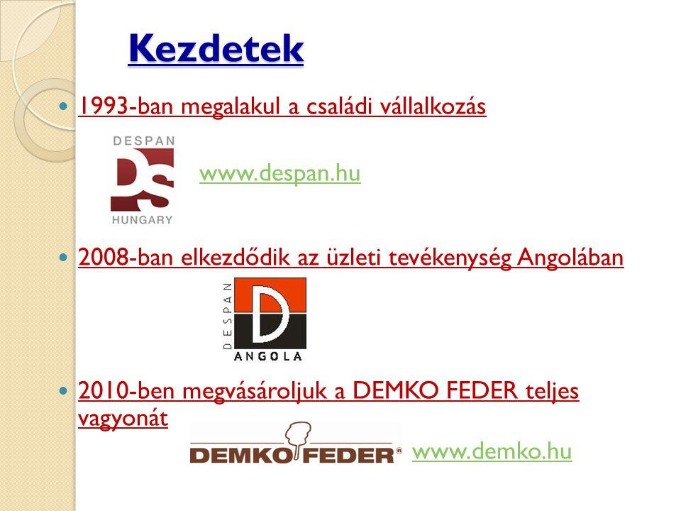 Kezdetek  1993-ban megalakul a családi vállalkozás www.despan.hu  2008-ban elkezdődik az üzleti tevékenység Angolában  2010-ben megvásároljuk a DEMKO FEDER teljes vagyonát www.demko.hu
