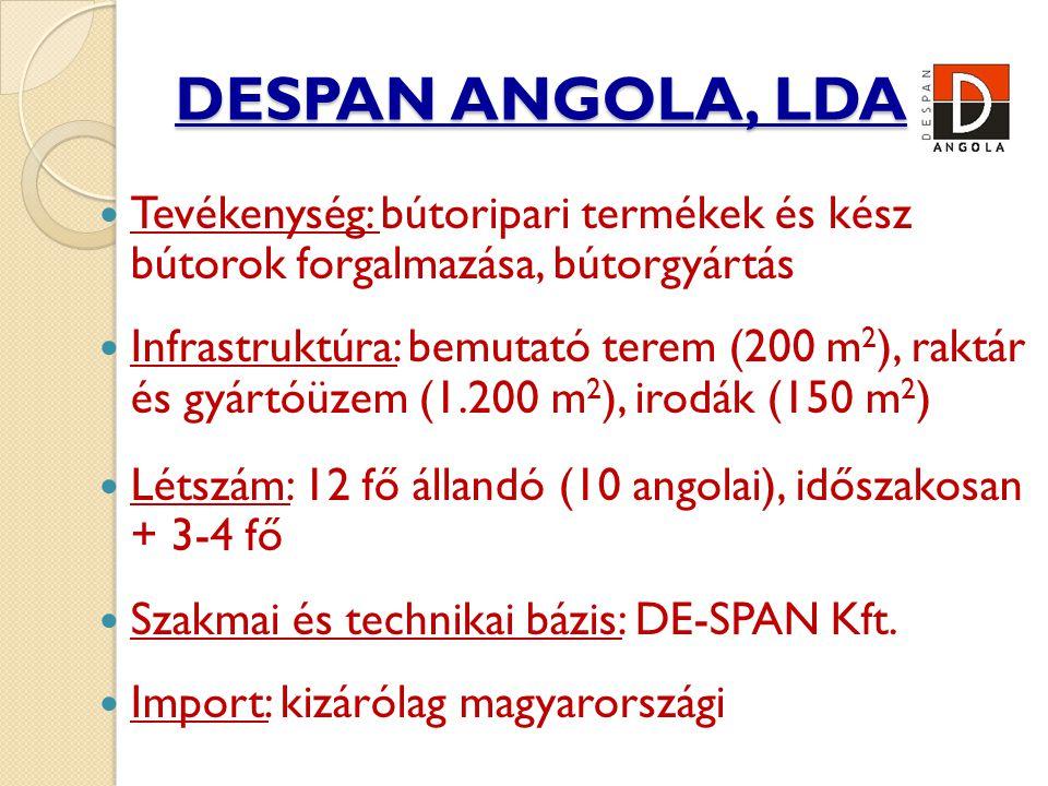 DESPAN ANGOLA, LDA  Tevékenység: bútoripari termékek és kész bútorok forgalmazása, bútorgyártás  Infrastruktúra: bemutató terem (200 m 2 ), raktár és gyártóüzem (1.200 m 2 ), irodák (150 m 2 )  Létszám: 12 fő állandó (10 angolai), időszakosan + 3-4 fő  Szakmai és technikai bázis: DE-SPAN Kft.