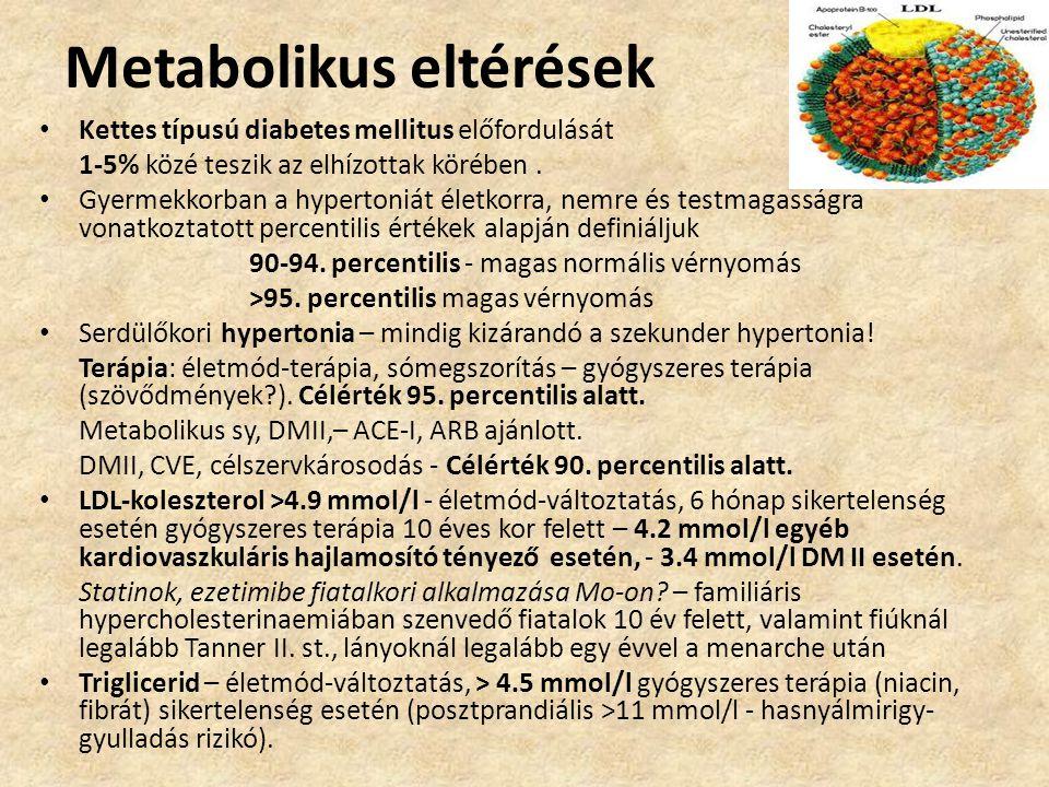 Metabolikus eltérések • Kettes típusú diabetes mellitus előfordulását 1-5% közé teszik az elhízottak körében. • Gyermekkorban a hypertoniát életkorra,