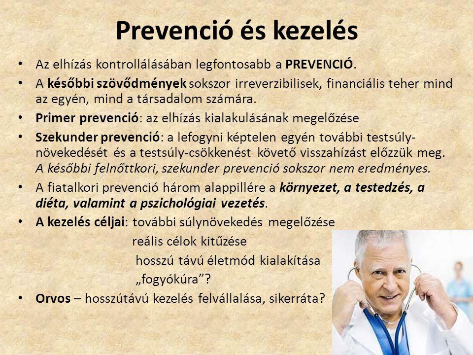 Prevenció és kezelés • Az elhízás kontrollálásában legfontosabb a PREVENCIÓ. • A későbbi szövődmények sokszor irreverzibilisek, financiális teher mind