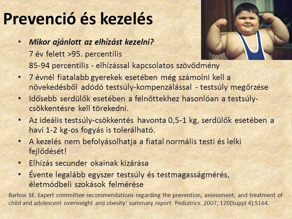Prevenció és kezelés • Mikor ajánlott az elhízást kezelni? 7 év felett >95. percentilis 85-94 percentilis - elhízással kapcsolatos szövődmény • 7 évné