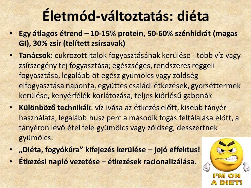 Életmód-változtatás: diéta • Egy átlagos étrend – 10-15% protein, 50-60% szénhidrát (magas GI), 30% zsír (telített zsírsavak) • Tanácsok: cukrozott it