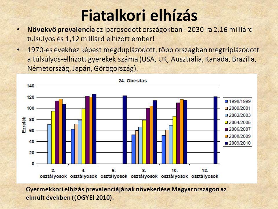 Fiatalkori elhízás • Növekvő prevalencia az iparosodott országokban - 2030-ra 2,16 milliárd túlsúlyos és 1,12 milliárd elhízott ember! • 1970-es évekh