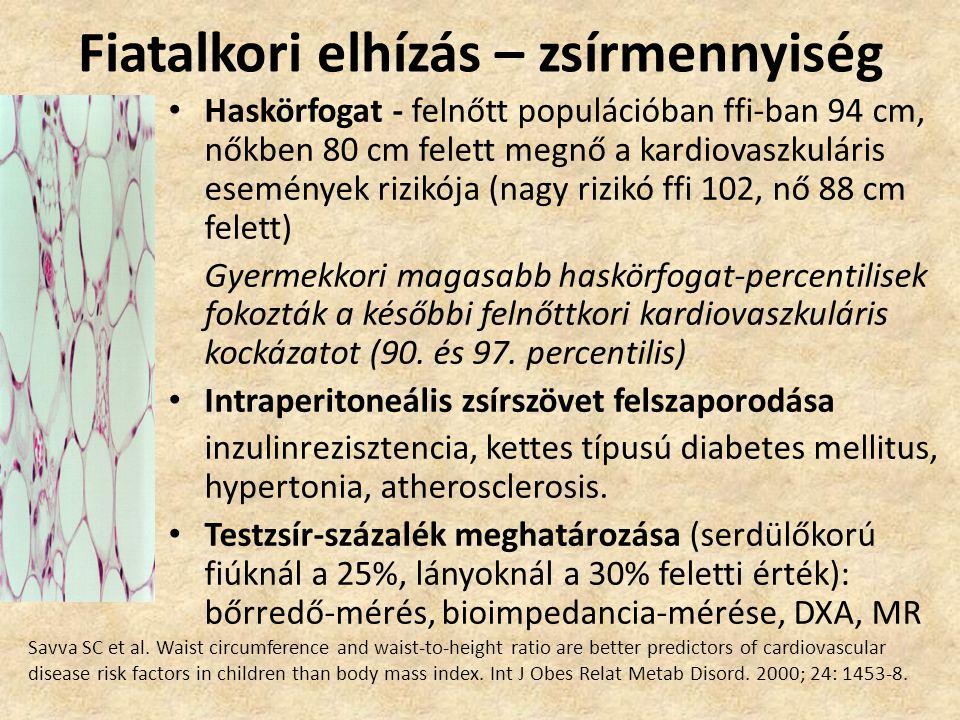 Fiatalkori elhízás – zsírmennyiség • Haskörfogat - felnőtt populációban ffi-ban 94 cm, nőkben 80 cm felett megnő a kardiovaszkuláris események rizikój