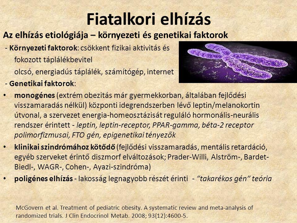 Fiatalkori elhízás Az elhízás etiológiája – környezeti és genetikai faktorok Endokrinológiai: hypothyreosis, növekedési hormon deficiencia vagy rezisztencia, hypercortisolaemia, policisztás ovárium szindróma, congenitális és szerzett (trauma, irradiáció) hypothalamicus zavarok, különböző gyógyszerek (antipszichotikumok, orális antikoncipiensek) Rizikótényező: intrauterin anyai gestációs diabetes mellitus, az anyai elhízás terhesség alatt, a születéskori magasabb testsúly, koraszülöttek, szoptatás védő szerepe.