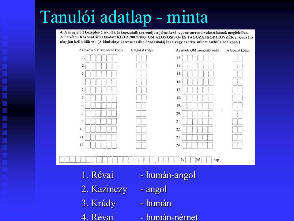 Tanulói adatlap - minta 1.Révai - humán-angol 2. Kazinczy - angol 3.