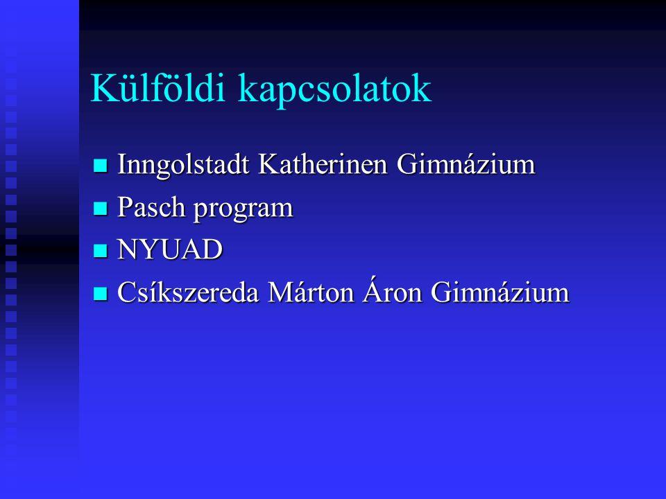 Külföldi kapcsolatok  Inngolstadt Katherinen Gimnázium  Pasch program  NYUAD  Csíkszereda Márton Áron Gimnázium