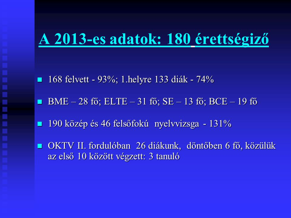 A 2013-es adatok: 180 érettségiző  168 felvett - 93%; 1.helyre 133 diák - 74%  BME – 28 fő; ELTE – 31 fő; SE – 13 fő; BCE – 19 fő  190 közép és 46 felsőfokú nyelvvizsga - 131%  OKTV II.