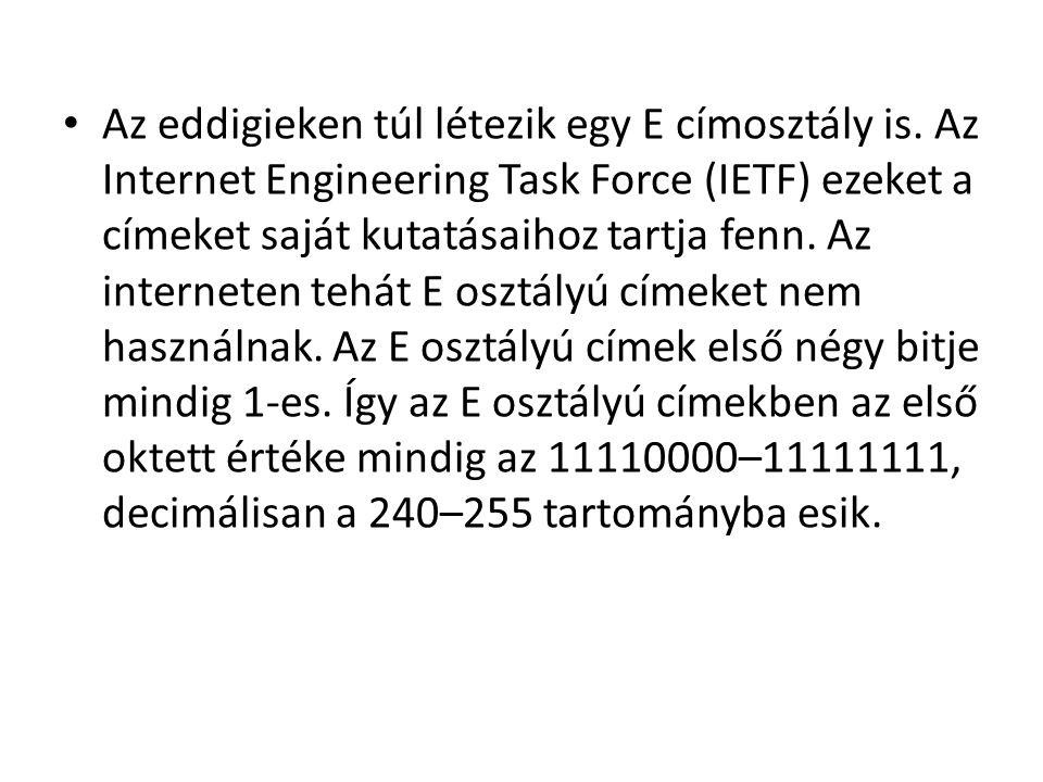 • Az eddigieken túl létezik egy E címosztály is. Az Internet Engineering Task Force (IETF) ezeket a címeket saját kutatásaihoz tartja fenn. Az interne