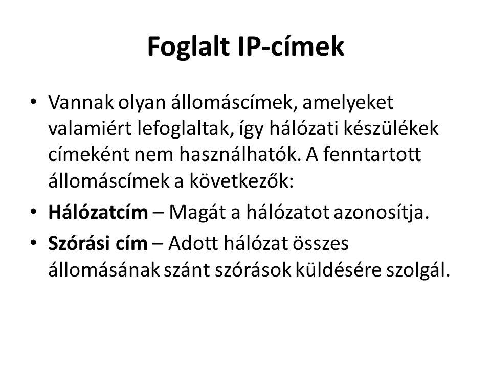 Foglalt IP-címek • Vannak olyan állomáscímek, amelyeket valamiért lefoglaltak, így hálózati készülékek címeként nem használhatók. A fenntartott állomá