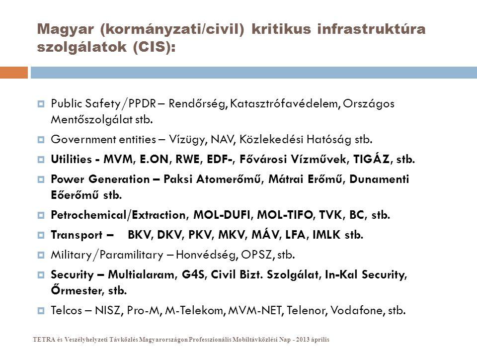 Magyar (civil) kritikus infrastruktúra szolgálatok (CIS) vezeték nélküli kommunikációja:  Business Critical szemlélet:  technológiai (adatátviteli) csatornák, rendszerek  üzemirányítási (diszpécseri) csatornák, rendszerek  Mission Critical szemlélet:  vészhelyzetben is ugyan azokat a csatornákat, rendszereket használják  kiegészítő csatornák a katasztrófavédelem felé (EDR)  Önálló és/vagy szolgáltatói megoldások TETRA és Veszélyhelyzeti Távközlés Magyarországon Professzionális Mobiltávközlési Nap - 2013 április