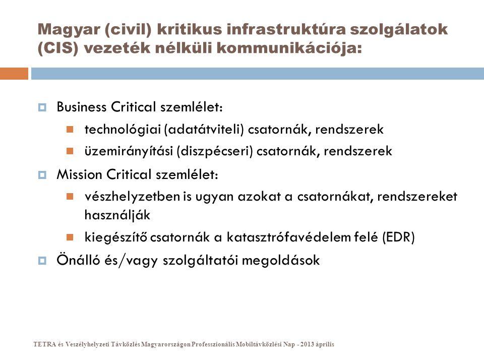Magyar (civil) kritikus infrastruktúra szolgálatok (CIS) vezeték nélküli kommunikációja:  Business Critical szemlélet:  technológiai (adatátviteli)