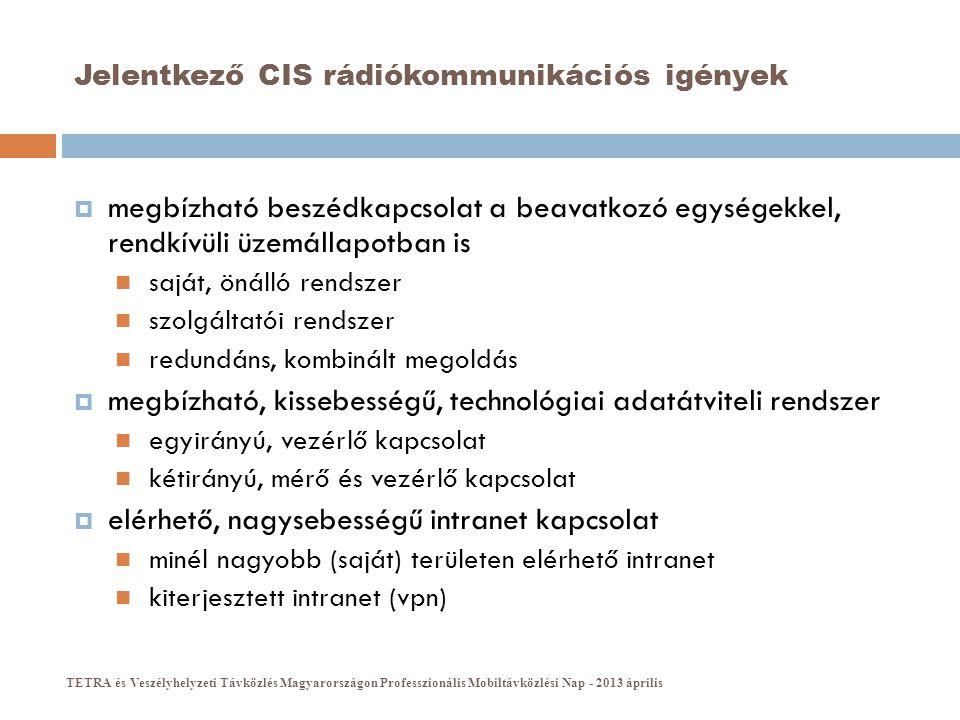 Jelentkező CIS rádiókommunikációs igények  megbízható beszédkapcsolat a beavatkozó egységekkel, rendkívüli üzemállapotban is  saját, önálló rendszer