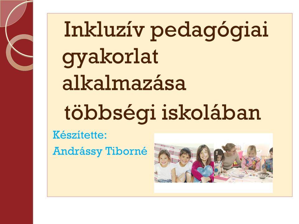 Inkluzív pedagógiai gyakorlat alkalmazása többségi iskolában Készítette: Andrássy Tiborné