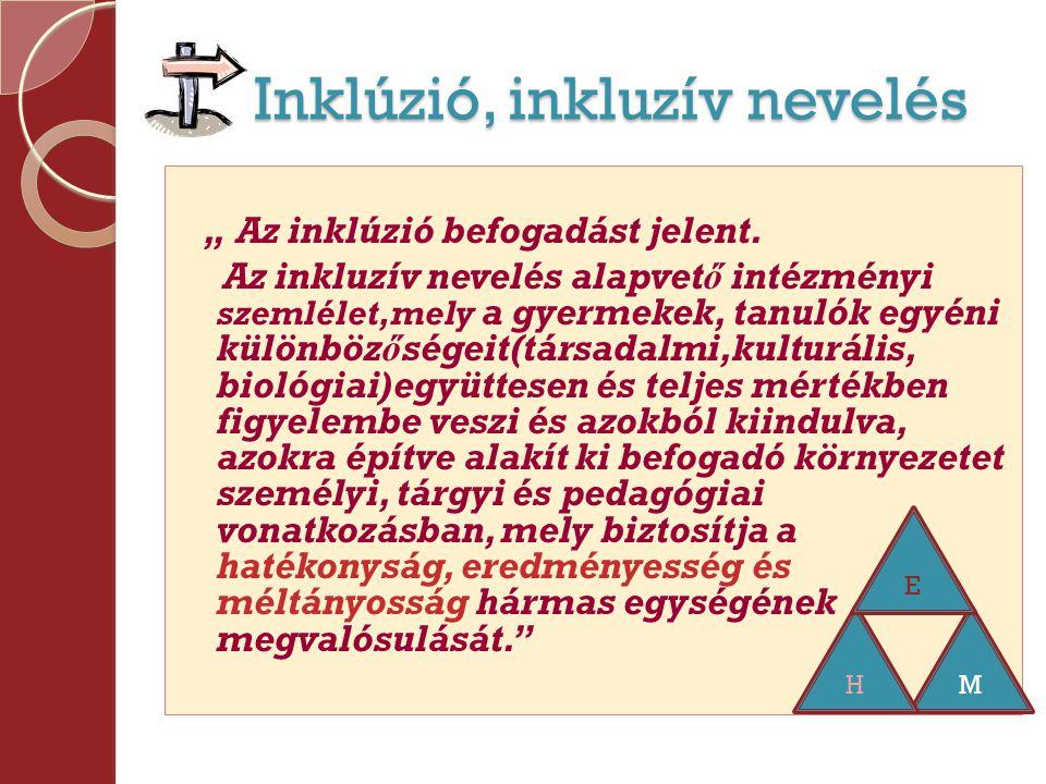 """Inklúzió, inkluzív nevelés Inklúzió, inkluzív nevelés """" Az inklúzió befogadást jelent."""
