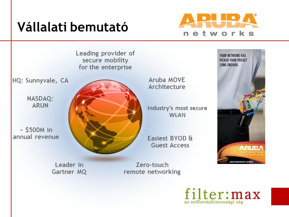 Vállalati bemutató Leading provider of secure mobility for the enterprise Aruba MOVE Architecture Industry's most secure WLAN Easiest BYOD & Guest Access Zero-touch remote networking Leader in Gartner MQ ~ $500M in annual revenue HQ: Sunnyvale, CA NASDAQ: ARUN
