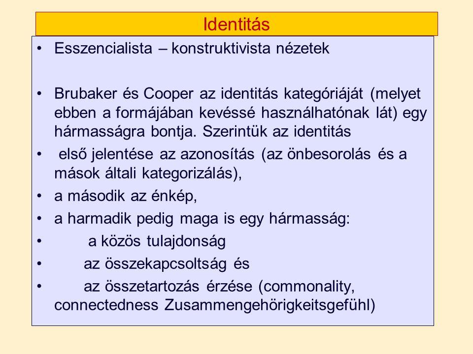 Identitás •Esszencialista – konstruktivista nézetek •Brubaker és Cooper az identitás kategóriáját (melyet ebben a formájában kevéssé használhatónak lá