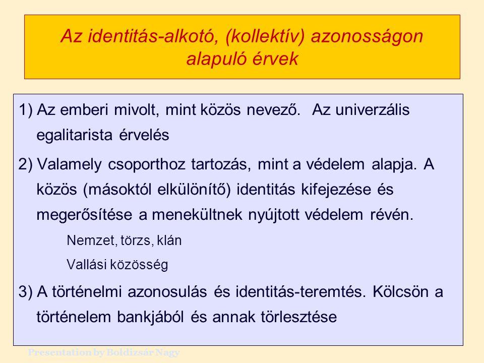 Az identitás-alkotó, (kollektív) azonosságon alapuló érvek 1) Az emberi mivolt, mint közös nevező. Az univerzális egalitarista érvelés 2) Valamely cso
