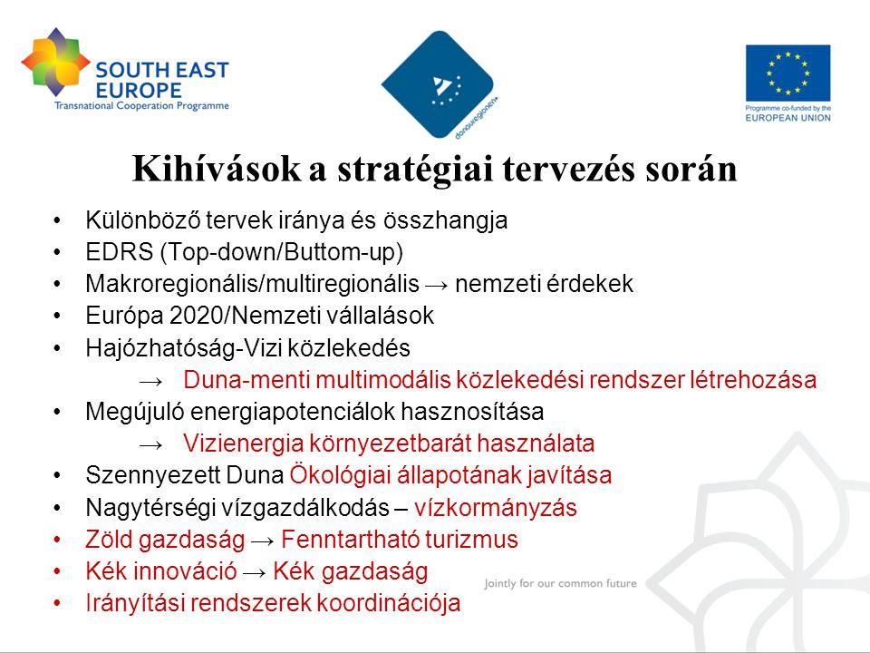 Kihívások a stratégiai tervezés során •Különböző tervek iránya és összhangja •EDRS (Top-down/Buttom-up) •Makroregionális/multiregionális → nemzeti érd