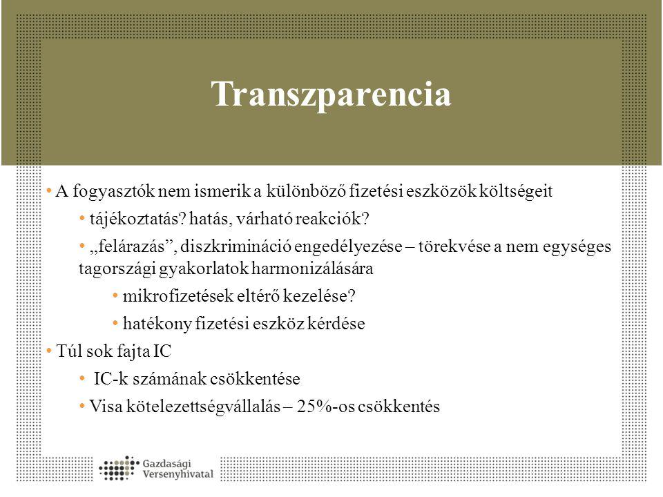 """Transzparencia • A fogyasztók nem ismerik a különböző fizetési eszközök költségeit • tájékoztatás? hatás, várható reakciók? • """"felárazás"""", diszkriminá"""
