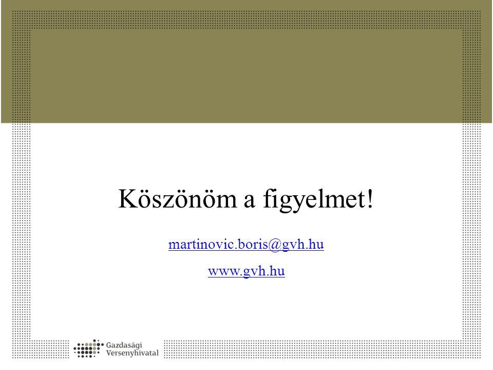 Köszönöm a figyelmet! martinovic.boris@gvh.hu www.gvh.hu