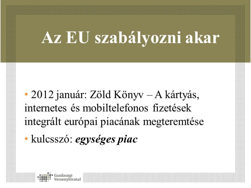 Az EU szabályozni akar • 2012 január: Zöld Könyv – A kártyás, internetes és mobiltelefonos fizetések integrált európai piacának megteremtése • kulcsszó: egységes piac