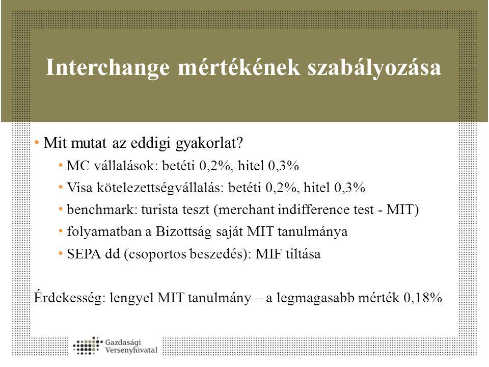 Interchange mértékének szabályozása • Mit mutat az eddigi gyakorlat? • MC vállalások: betéti 0,2%, hitel 0,3% • Visa kötelezettségvállalás: betéti 0,2
