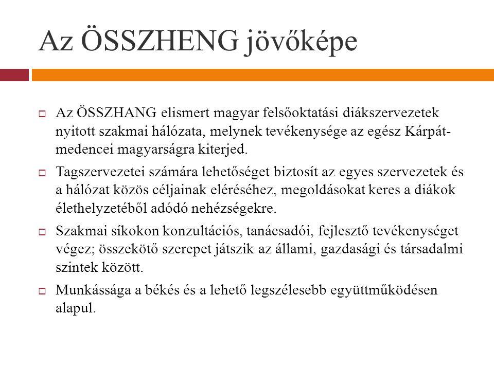 Az ÖSSZHENG jövőképe  Az ÖSSZHANG elismert magyar felsőoktatási diákszervezetek nyitott szakmai hálózata, melynek tevékenysége az egész Kárpát- medencei magyarságra kiterjed.