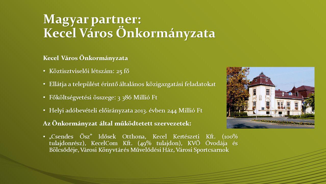 Magyar partner: Kecel Város Önkormányzata Kecel Város Önkormányzata • Köztisztviselői létszám: 25 fő • Ellátja a települést érintő általános közigazgatási feladatokat • Főköltségvetési összege: 3 386 Millió Ft • Helyi adóbevételi előirányzata 2013.