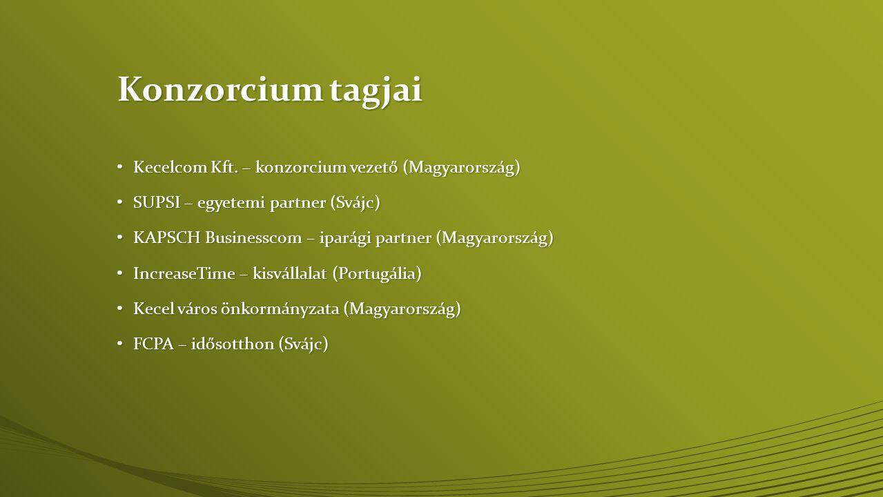 Konzorcium tagjai • Kecelcom Kft. – konzorcium vezető (Magyarország) • SUPSI – egyetemi partner (Svájc) • KAPSCH Businesscom – iparági partner (Magyar