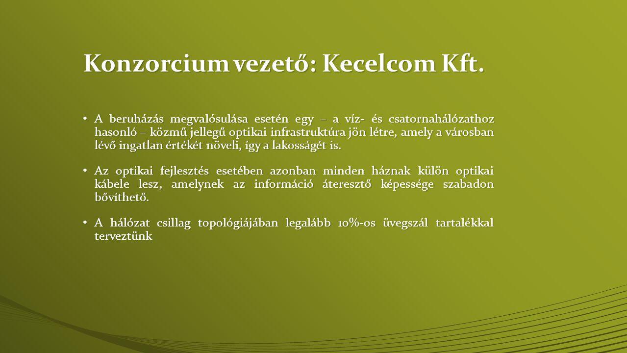 Kecelcom Kft: tervezett szolgáltatások • Klasszikus triple play: TV (IPTV), internet, telefon • Helyi tartalom • Képújság 2.0 • Online videotéka • Videochat • Hálózati játék • Otthon automatizálás, okosmérés • E-learning