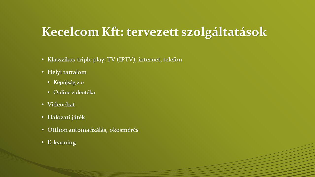 Kecelcom Kft: tervezett szolgáltatások • Klasszikus triple play: TV (IPTV), internet, telefon • Helyi tartalom • Képújság 2.0 • Online videotéka • Vid