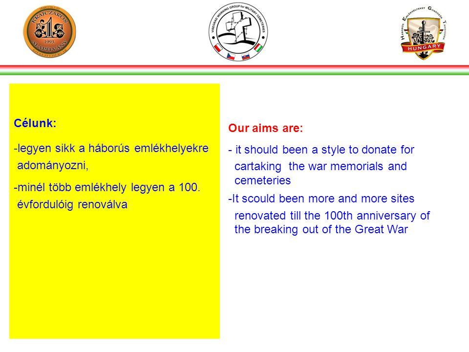 Célunk: -legyen sikk a háborús emlékhelyekre adományozni, -minél több emlékhely legyen a 100.