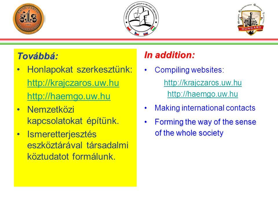 Továbbá: •Honlapokat szerkesztünk: http://krajczaros.uw.hu http://haemgo.uw.hu •Nemzetközi kapcsolatokat építünk.