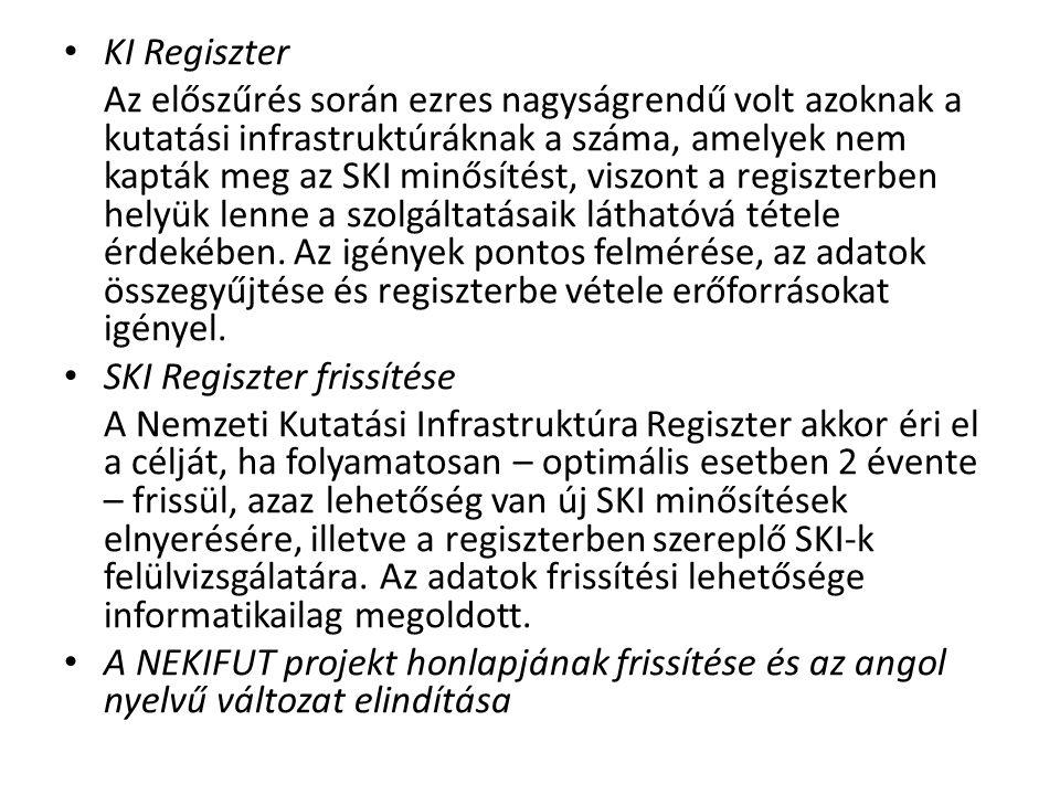 • KI Regiszter Az előszűrés során ezres nagyságrendű volt azoknak a kutatási infrastruktúráknak a száma, amelyek nem kapták meg az SKI minősítést, vis