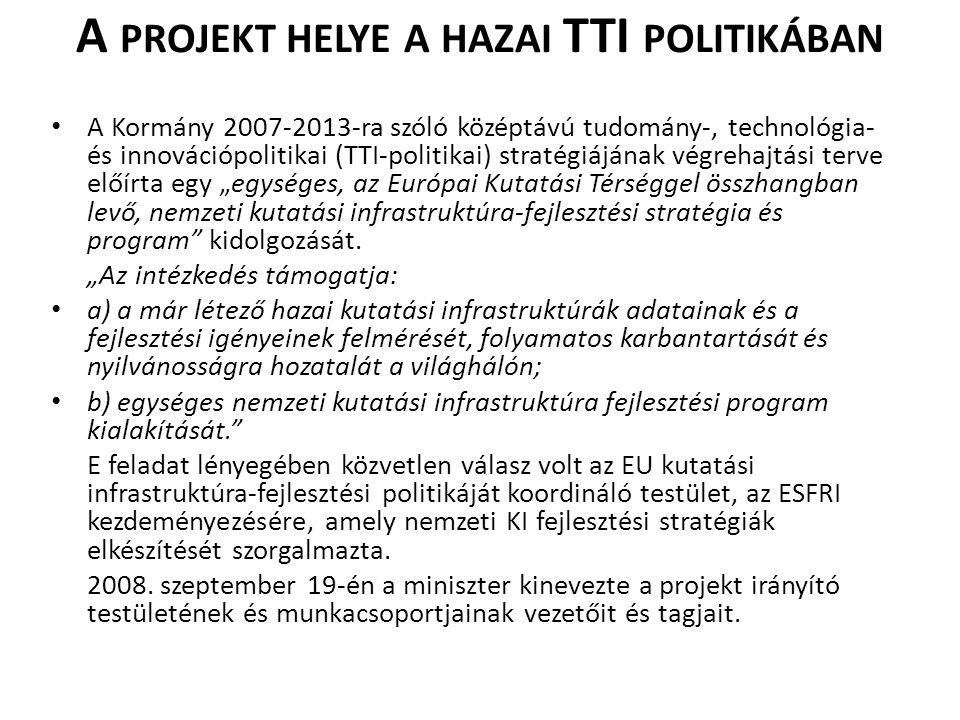 A PROJEKT HELYE A HAZAI TTI POLITIKÁBAN • A Kormány 2007-2013-ra szóló középtávú tudomány-, technológia- és innovációpolitikai (TTI-politikai) stratég