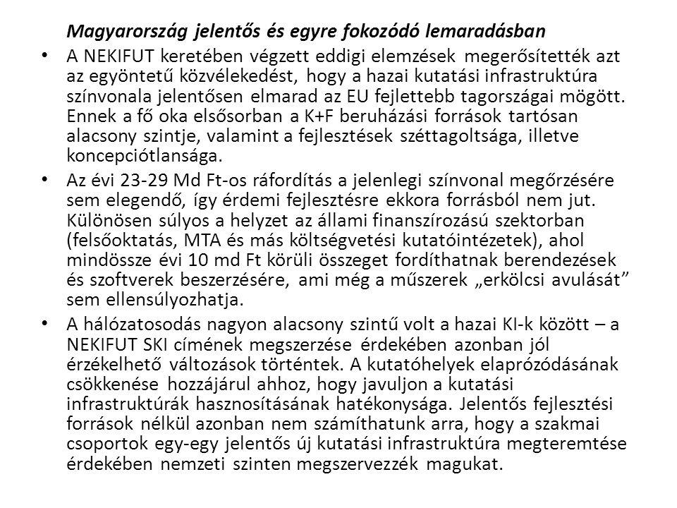 Magyarország jelentős és egyre fokozódó lemaradásban • A NEKIFUT keretében végzett eddigi elemzések megerősítették azt az egyöntetű közvélekedést, hog