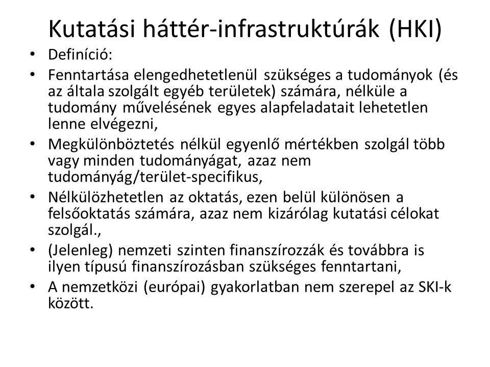 Kutatási háttér-infrastruktúrák (HKI) • Definíció: • Fenntartása elengedhetetlenül szükséges a tudományok (és az általa szolgált egyéb területek) szám