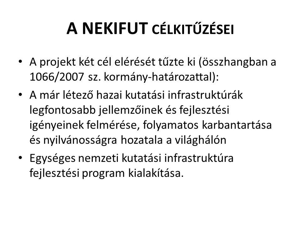 DEFINÍCIÓK • A KI definíciója: A NEKIFUT projektben kutatási infrastruktúrának azokat a berendezéseket, berendezés-együtteseket, élő és élettelen anyagbankokat, adatbankokat, információs rendszereket és szolgáltatásokat tekintjük, amelyek nélkülözhetetlenek a tudományos kutatási tevékenységhez és az eredmények terjesztéséhez.