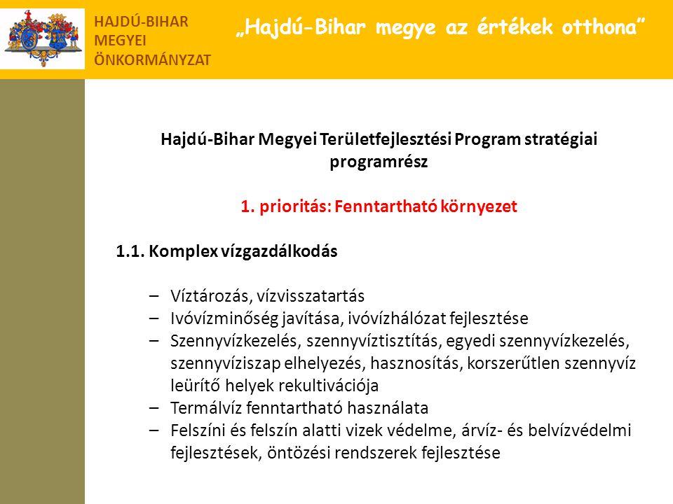 """HAJDÚ-BIHAR MEGYEI ÖNKORMÁNYZAT """"Hajdú-Bihar megye az értékek otthona"""" Hajdú-Bihar Megyei Területfejlesztési Program stratégiai programrész 1. priorit"""