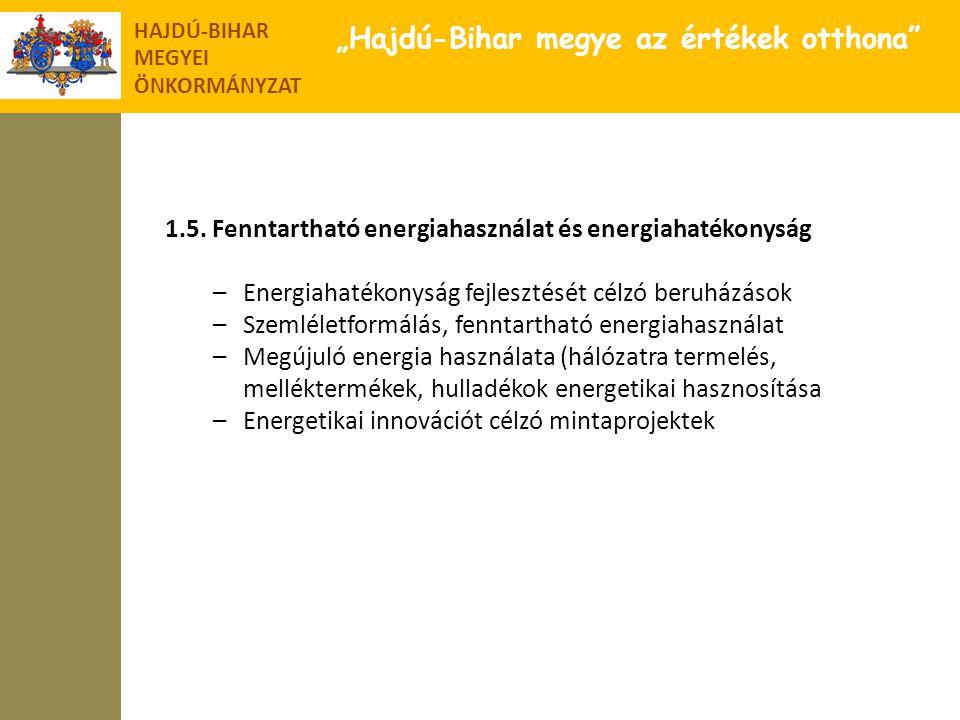 """HAJDÚ-BIHAR MEGYEI ÖNKORMÁNYZAT """"Hajdú-Bihar megye az értékek otthona"""" 1.5. Fenntartható energiahasználat és energiahatékonyság –Energiahatékonyság fe"""