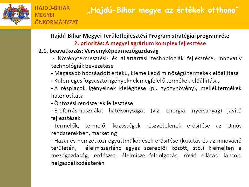 """HAJDÚ-BIHAR MEGYEI ÖNKORMÁNYZAT """"Hajdú-Bihar megye az értékek otthona"""" Hajdú-Bihar Megyei Területfejlesztési Program stratégiai programrész 2. priorit"""